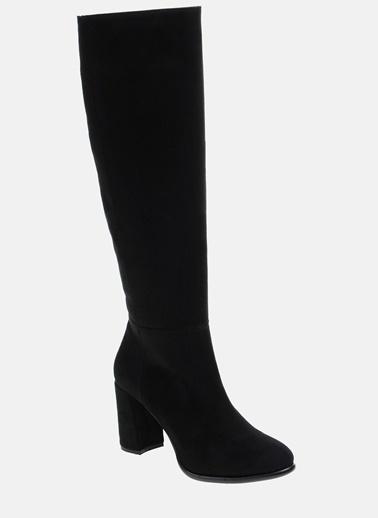 Divarese Kalın Topuklu Çizme Siyah